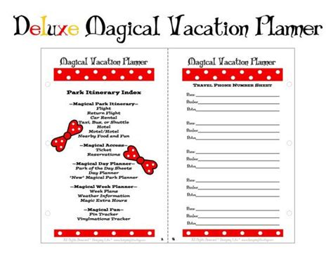 printable disney world planner 8 best images of disney vacation planner printable pages