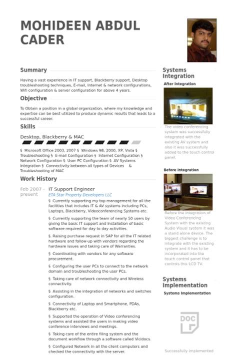 it support engineer resume sles visualcv resume sles database