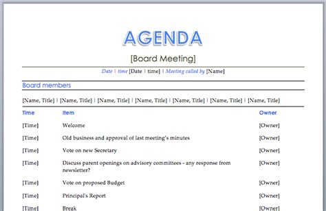 agenda template free board meeting agenda template free images