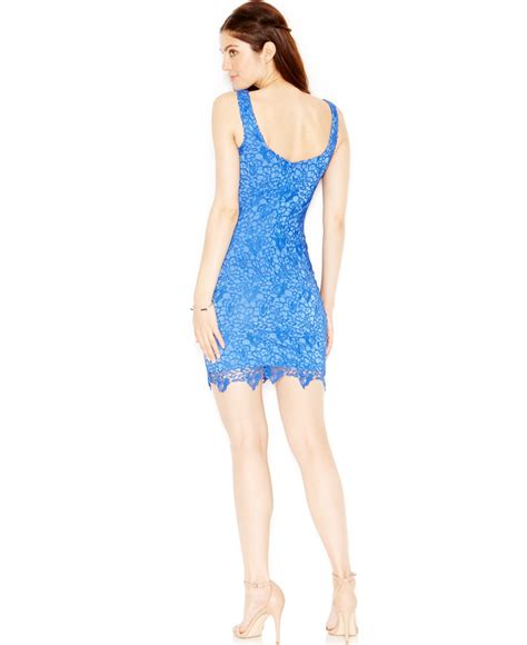 Guess Dress Bodycon lyst guess lace bodycon dress in blue