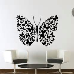 Transfer Stickers For Walls Big Butterfly Of Lots Of Small Butterflies Wall Art Decals