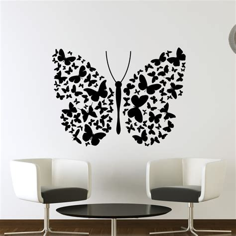 Big BUtterfly of Lots of Small Butterflies Wall Art Decals