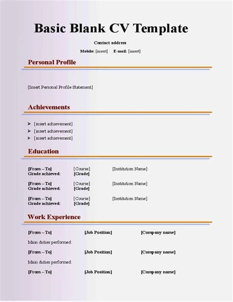 Cv Template Free For 16 Year Olds | basic cv templates for 16 year olds resume template