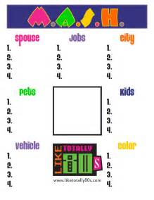 Christmas Table Party Games - m a s h game template by like totally 80s free printable that is perfect for putting on
