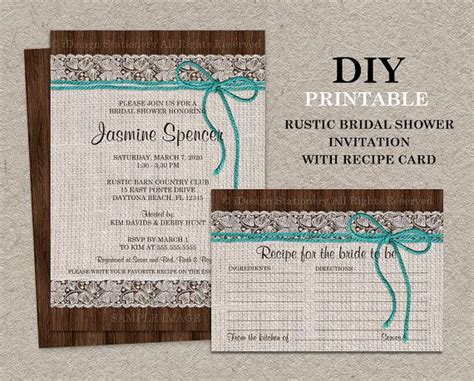 rustic turquoise bridal shower invitation with recipe card