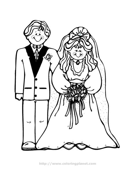 Draw Bride And Groom Coloring Pages 40 For Seasonal And Groom Coloring Page