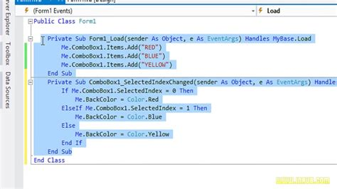 vb net select selected index combobox in visual basic vb net