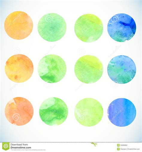 design elements watercolor watercolor circle design elements stock vector image