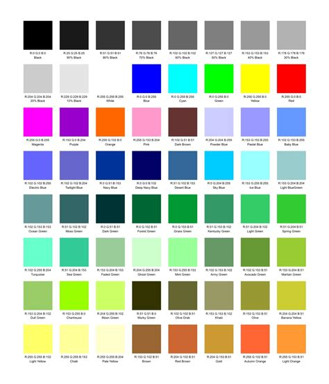 colours name generic palette jpg 897 215 1 048 pixels good to know