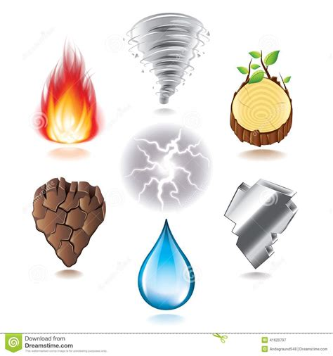 seven natural elements icons vector set stock vector