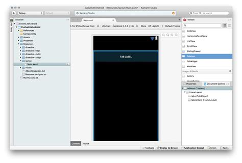 xamarin layout padding walkthrough creating a tabbed ui with tabhost xamarin