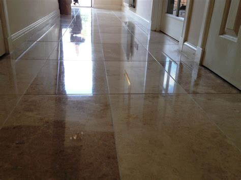 marble tiled kitchen and hallway cleaned and polished in