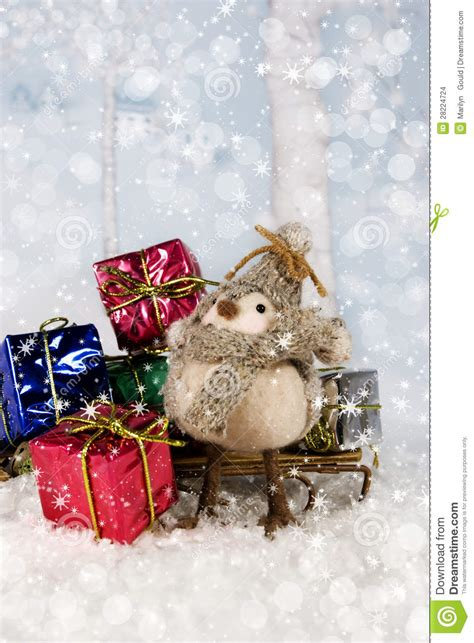 christmas bird with gifts stock images image 28224724