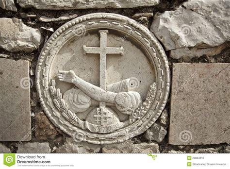 stone embossment  gethsemane stock photo image