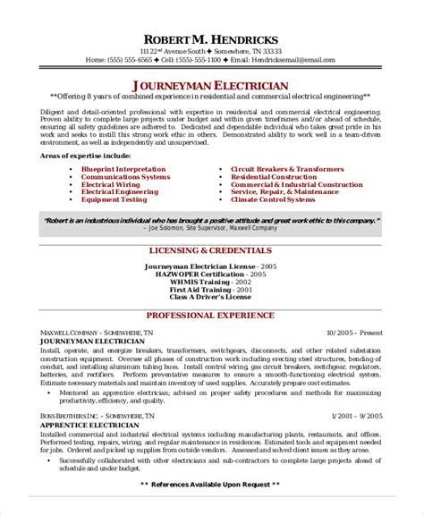 Resume Exles Electrician Apprenticeship Electrician Resume Template 5 Free Word Excel Pdf Documents Free Premium Templates
