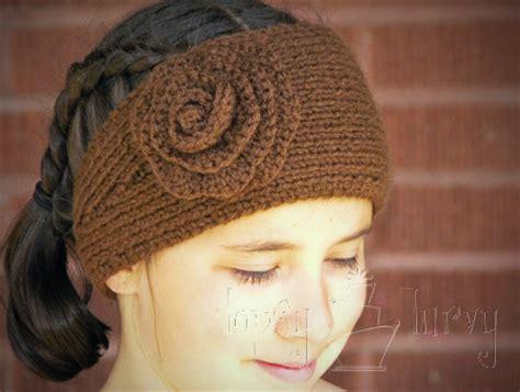 knit ear warmer pattern with flower crochet   ashlee marie