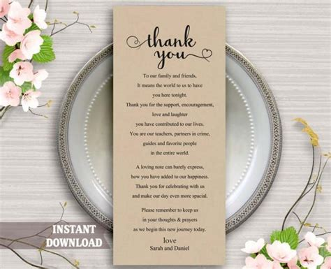 diy wedding thank you cards templates printable thank you place card wedding thank you card