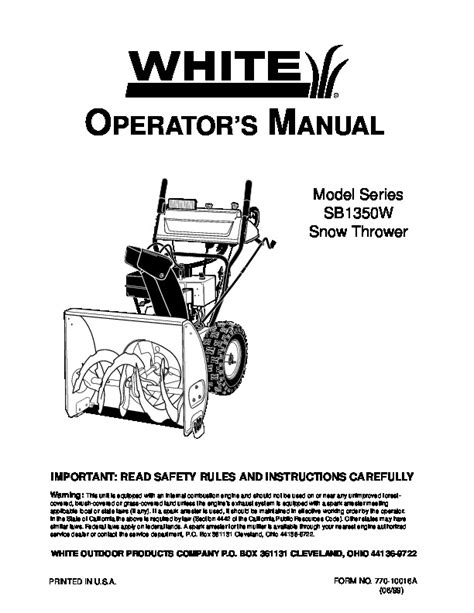 Mtd White Outdoor Sb1350w Snow Blower Owners Manual