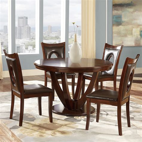 modern round dining room set with brown chairs casual inspire q miraval 5 piece cherry brown round dining set