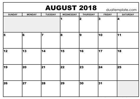august calendar template august 2018 calendar printable template holidays pdf word