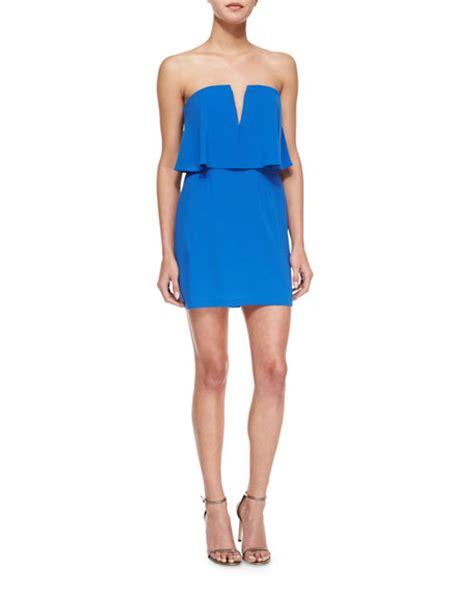 Yoku Dress V bcbgmaxazria kate strapless v neck cocktail dress blue