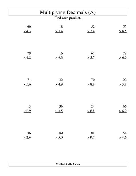 multiplying two digit whole by two digit tenths a math