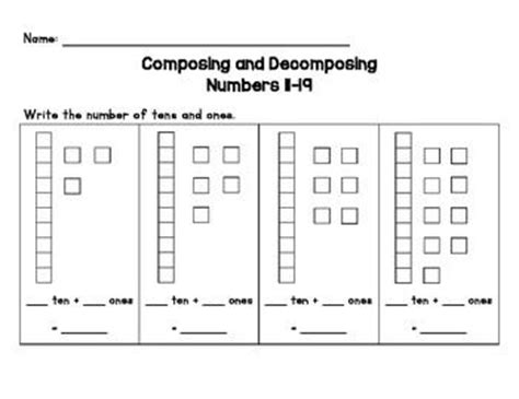 Decomposing Numbers Kindergarten Worksheets by Composing And Decomposing 11 19 Ten Frames Homework And