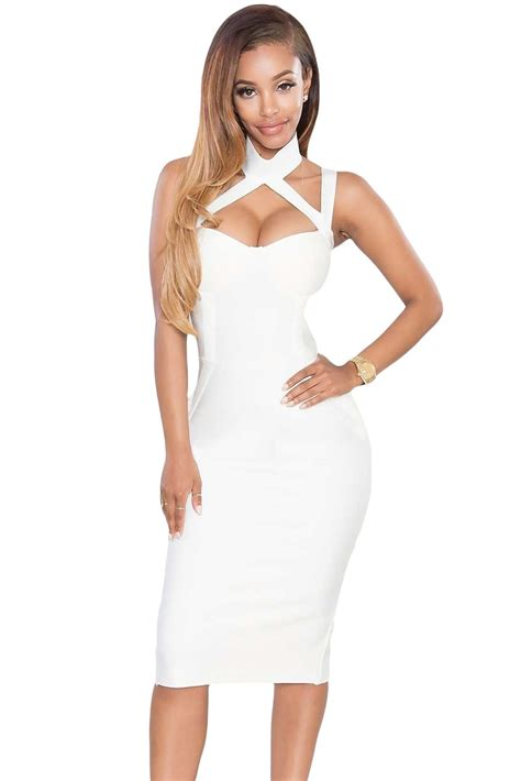 Dress 10 Val 1 white high neck hollow out bandage dress charming wear