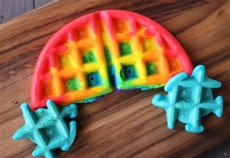 blue colored waffle brighten up your breakfast with these rainbow colored