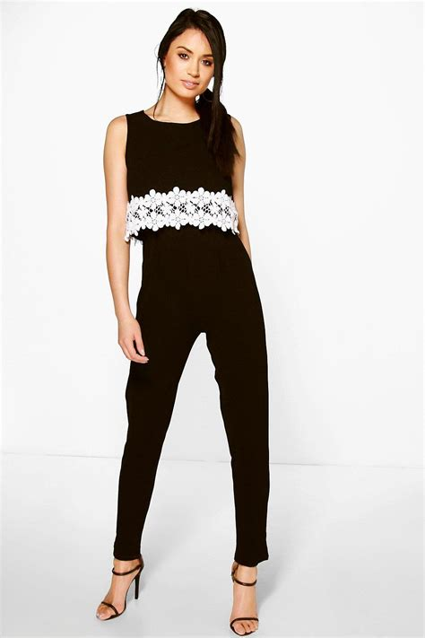 Layer Jumpsuit By Lois Crochet Floral Trim Layer Jumpsuit At Boohoo