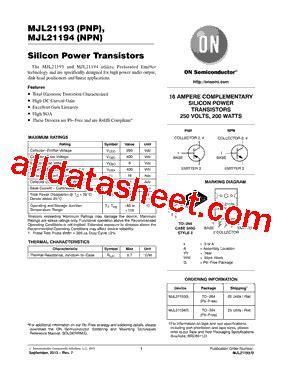 transistor mjl21194 datasheet mjl21194 datasheet pdf on semiconductor