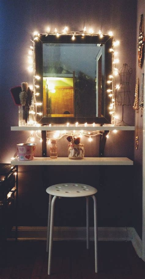 Bedroom Makeup Vanity With Lights Diy Ikea Hack Vanity Put Shelves On Wall Beside Mirror Apartment String