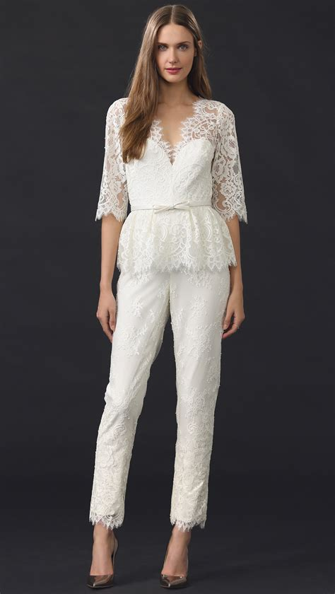Lace V Neck Jumpsuit notte by marchesa v neck lace jumpsuit ivory in white lyst