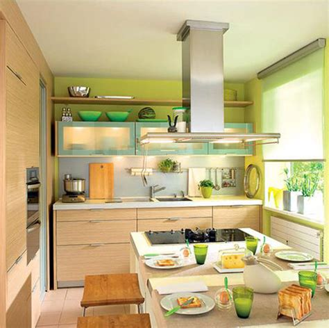 kitchen decorating idea green paint and kitchen accessories small kitchen