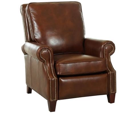 bronson recliner leather pillow back recliner w nail head trim rolled arms
