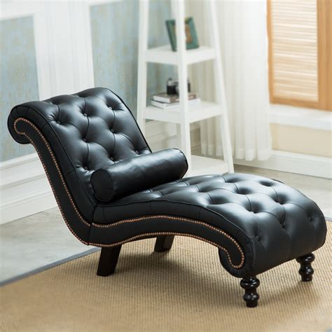 Chaise Lounge Sofa Leather by Classic Leather Chaise Lounge Sofa With Pillow Living Room