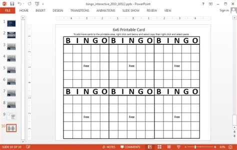 bingo card template powerpoint interactive bingo powerpoint template