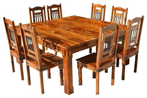 solid wood rustic 9 square dining table chairs set