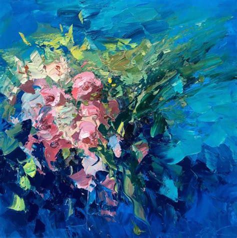 fiori da dipingere su tela fiori astratti pittura tela arte originale pittura pittura