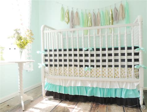 Black And Gold Crib Bedding Aqua Black White And Gold Crib Bedding With Metallic Gold