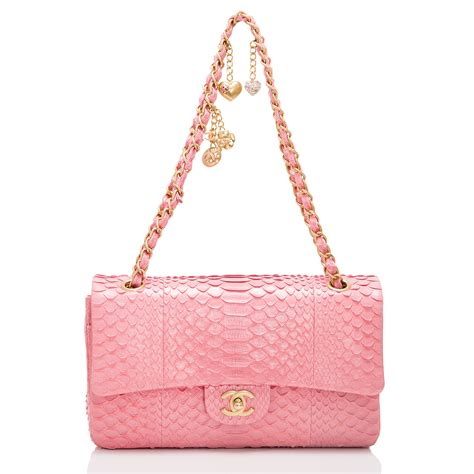 Channel Pink chanel pink python large charm flap bag world s best
