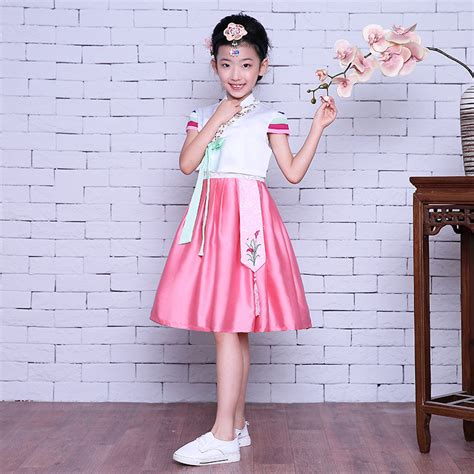 Hanbok Import Korea Free Sokchima 36 sleeve pink korean hanbok dress kid asian korea traditional costume ancient clothing