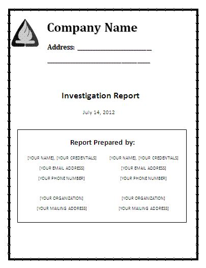 investigative report template word investigation report template free reports