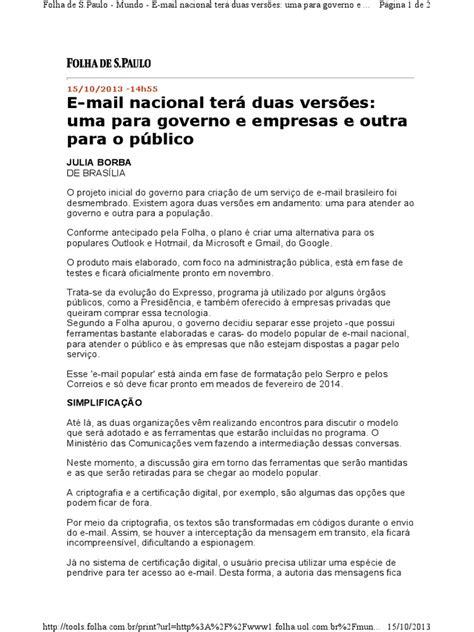E-mail nacional tera duas versoes uma para governo e