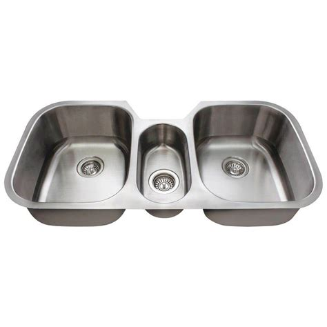 three bowl kitchen sink polaris sinks undermount stainless steel 43 in basin kitchen sink p1254 16 the home depot