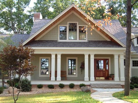 Split Level House Style Brown Roof Exterior Craftsman With Wood Columns Double