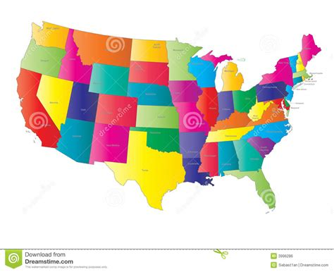 USA Map Vector Royalty Free Stock Image   Image: 3996286