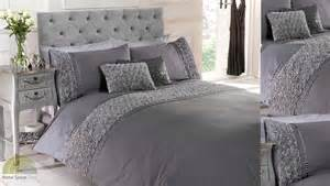 grey silver ruffled duvet quilt cover bed set bedding 4