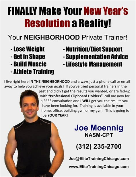 elite personal training new years resolution flyer yelp
