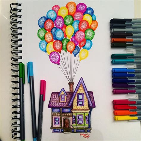 easy colorful drawings carl s house drawing by kristina illustrations instagram